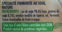 Soja nature - spécialité végétale - Ingredienti - fr