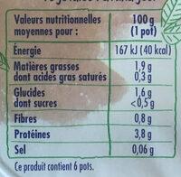 Soja nature - spécialité végétale - Valori nutrizionali - fr