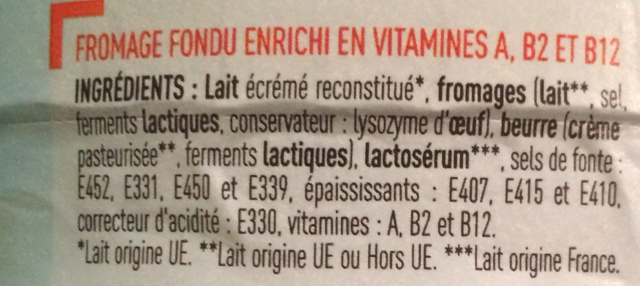 Fromage fondu - Ingrédients - fr