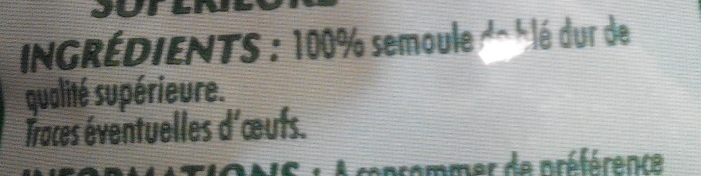 Coudes Rayés (Pâtes de qualité supérieure) - Ingredients