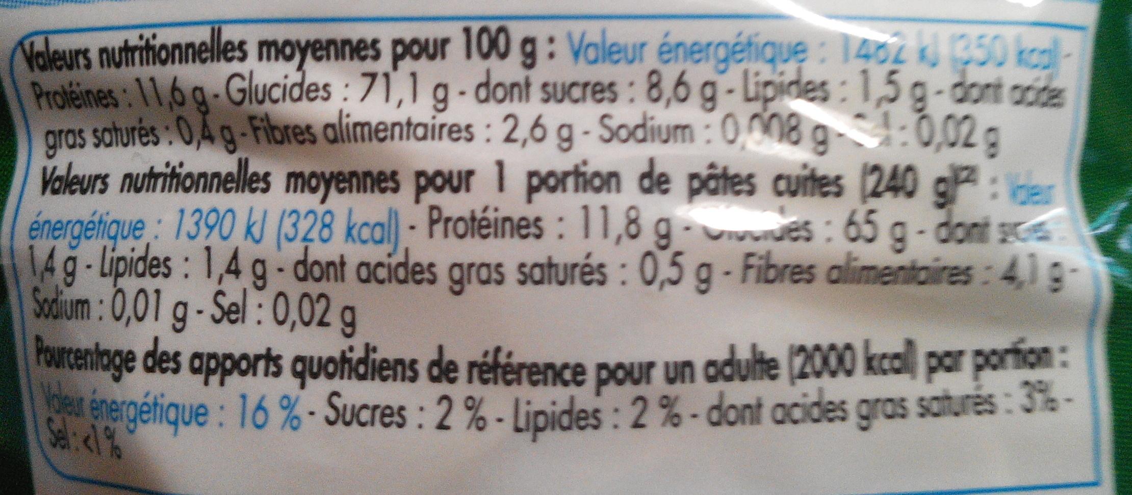 Coudes Rayés (Pâtes de qualité supérieure) - Nutrition facts