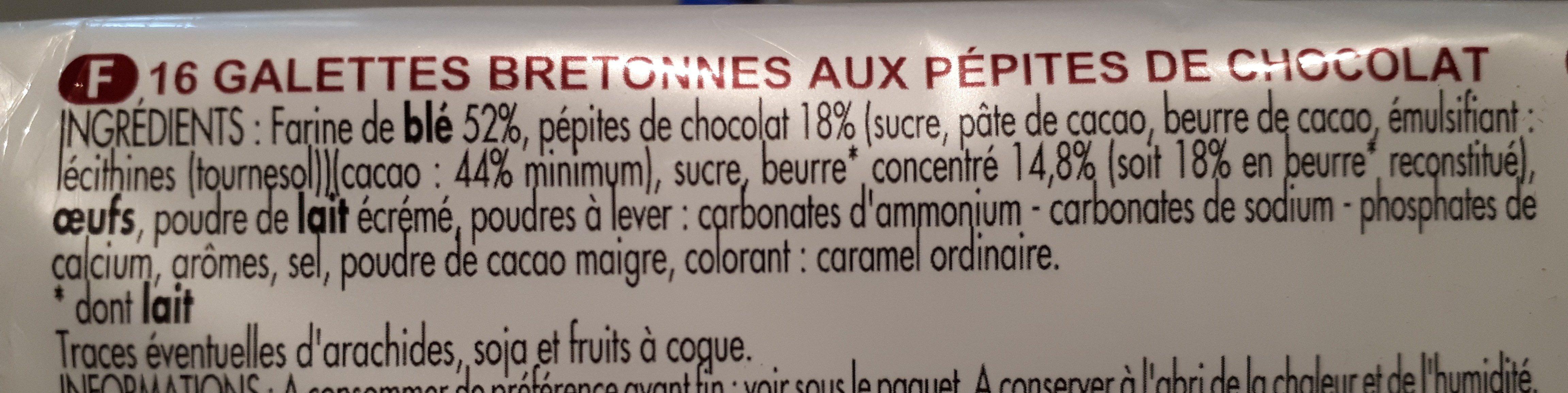 Galettes bretonnes pépites de chocolat - Ingrédients - fr