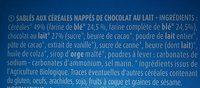 Sablés aux céréales chocolat au lait BIO - Ingrediënten - fr