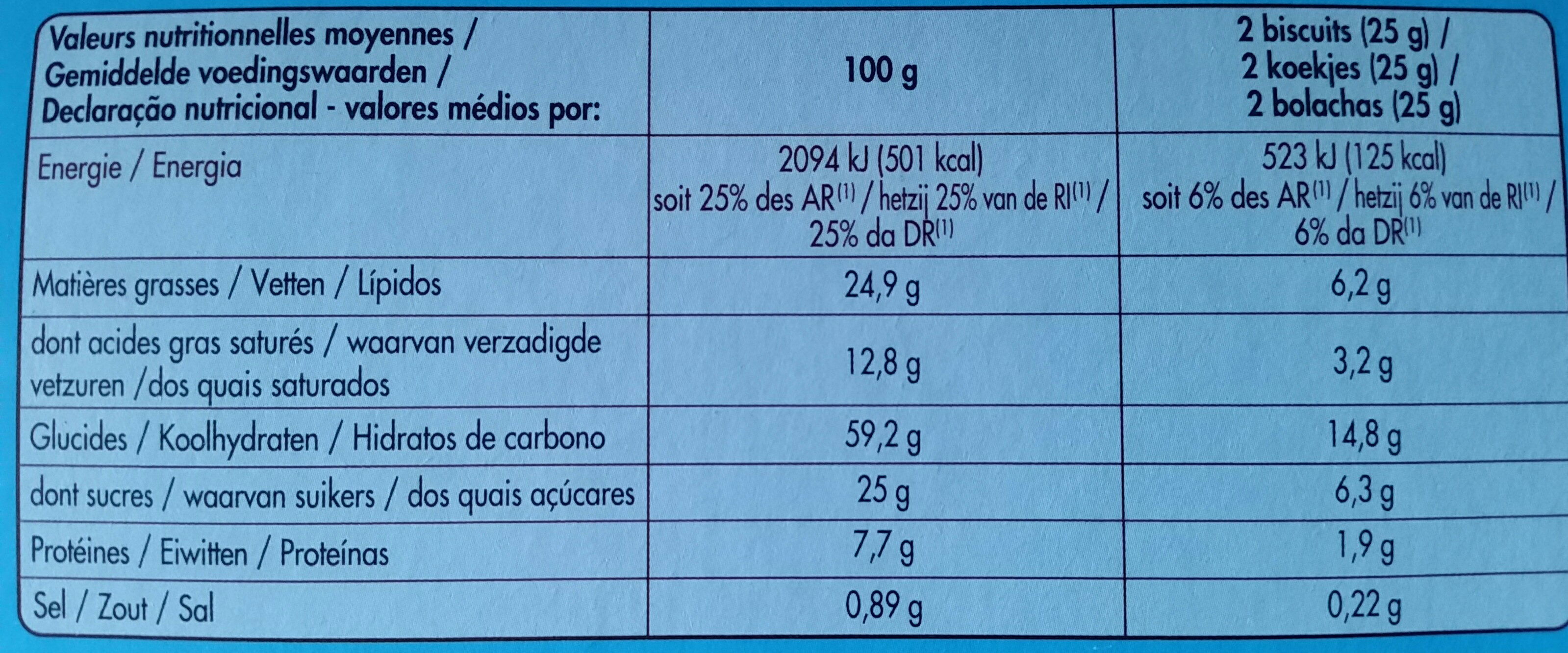 Sablés aux céréales chocolat au lait - Voedingswaarden - fr