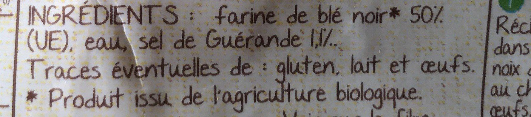 4 Galettes de blé noir - Ingrédients