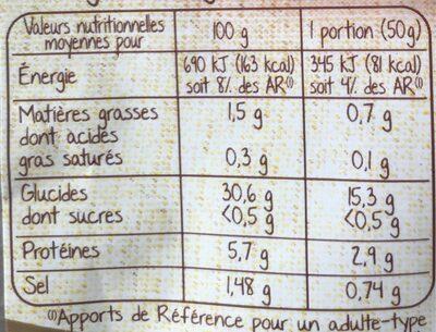 Galettes de blé noir bio - Informations nutritionnelles - fr