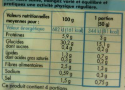 4 Galettes de blé noir - Informations nutritionnelles