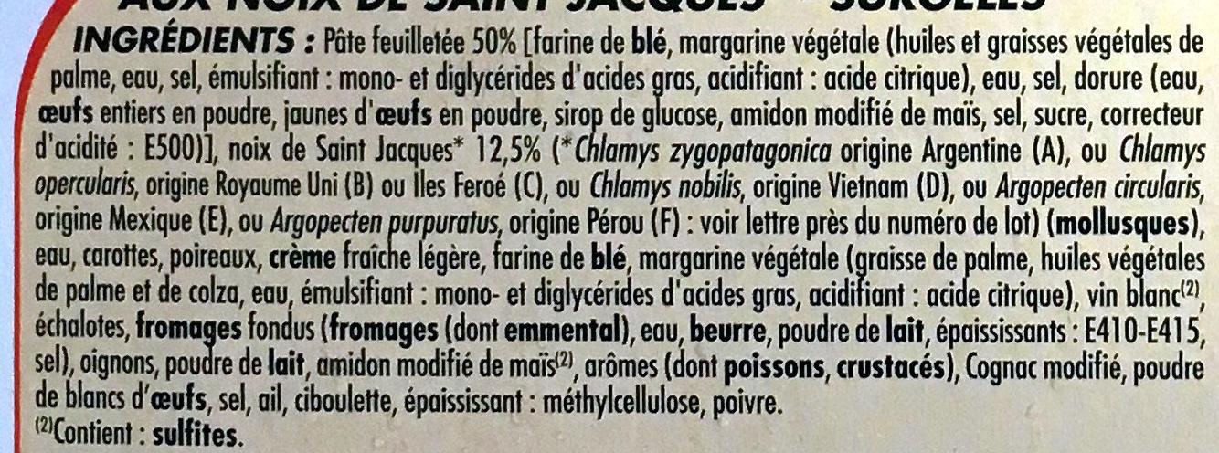 Paniers feuilletés aux Noix de St Jacques surgelés - Ingrédients