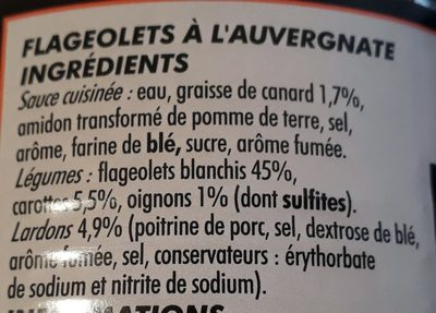 Flageolets à l'Auvergnate - Cuisinés aux lardons - Ingrédients - fr