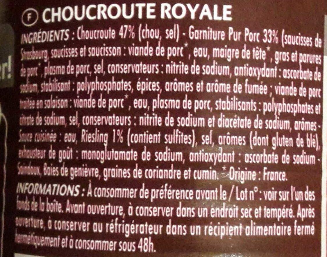 Choucroute Royale - Ingrédients