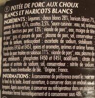 Potée Auvergnate Cuisiné Aux Choux Frais, La Boîte De - Ingrediënten - fr