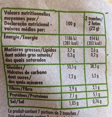 Pain de mie nature bio - Valori nutrizionali - fr