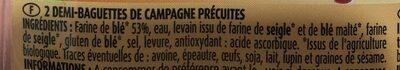 Demi-Baguettes Précuites - Ingredients - fr