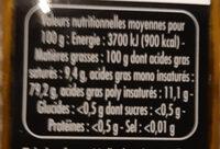L'exceptionnelle huile de noisette - Informations nutritionnelles - fr