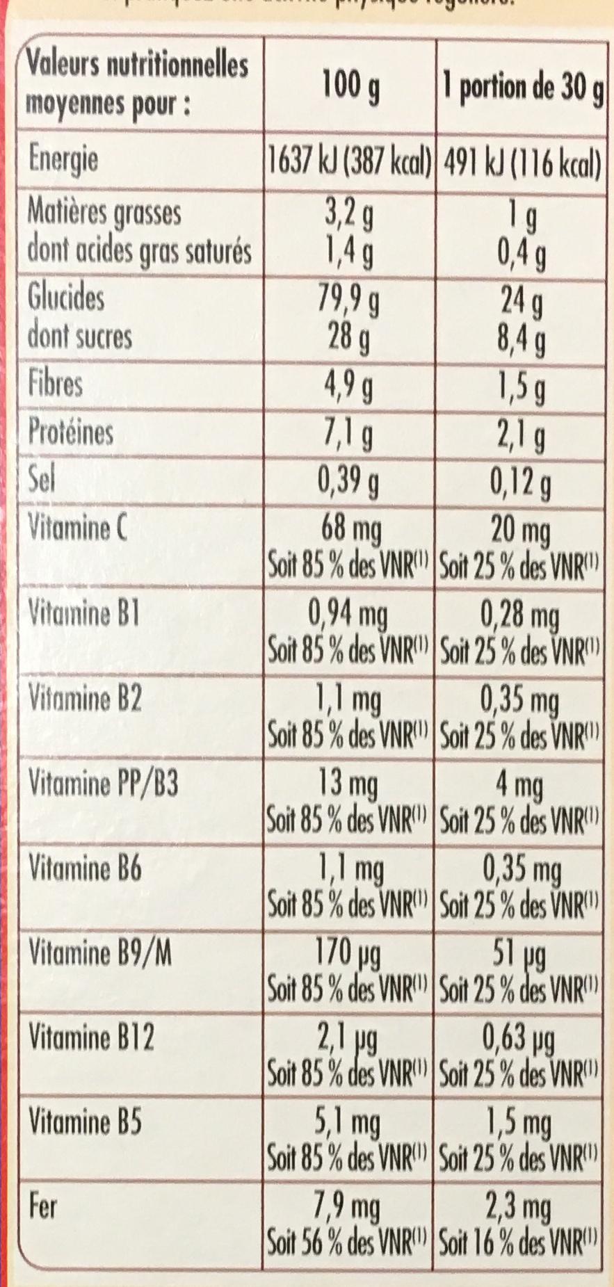 Céréales Soufflées au Chocolat - Nutrition facts - fr
