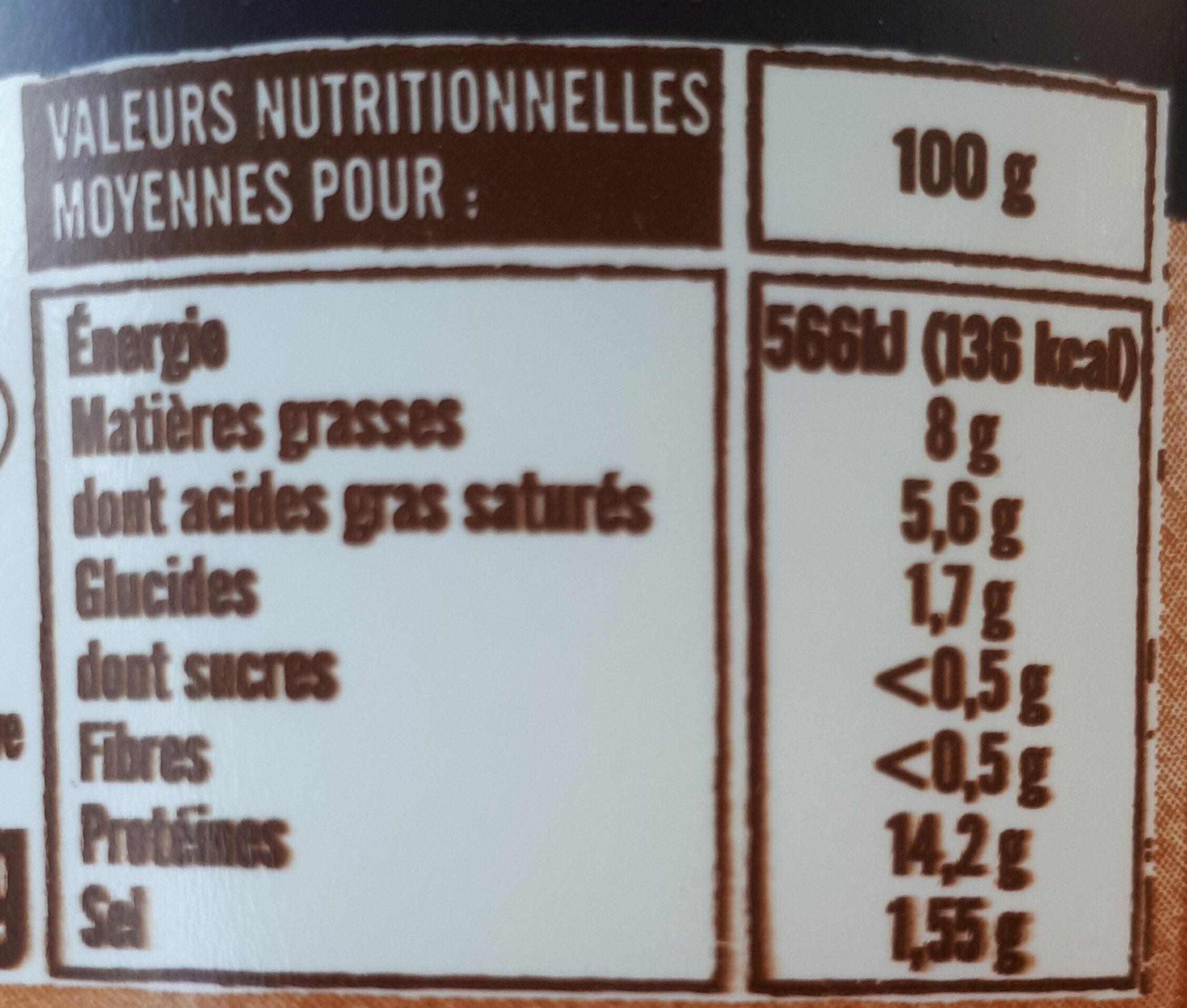 Cancoillotte de Franche Comte a l'ail, le pot de - Nutrition facts - fr