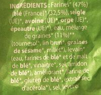 Pain 5 céréales-graines Bio Fournée Campanière - Ingredients