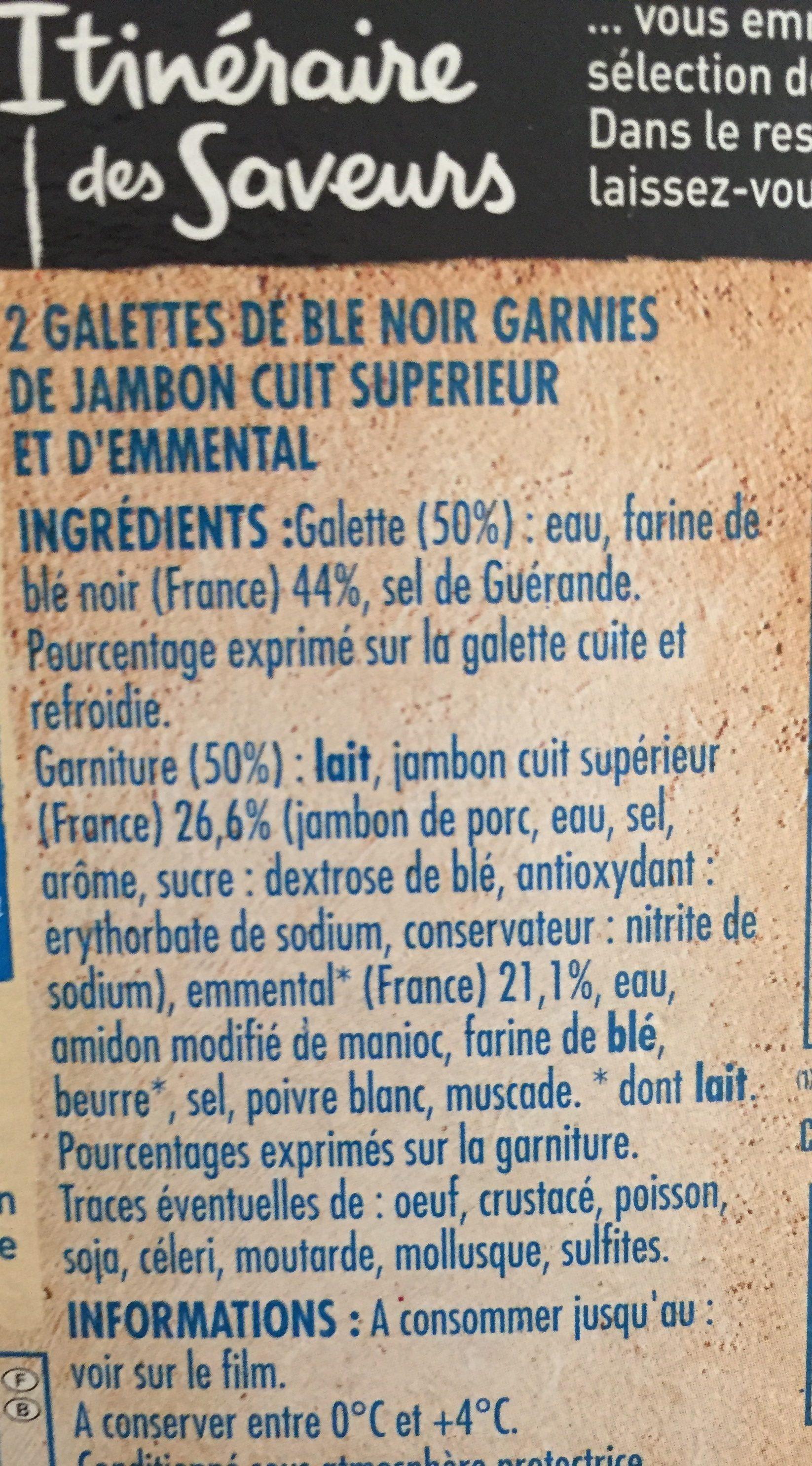 2 Galettes de ble noir jambon emmental - Ingrédients