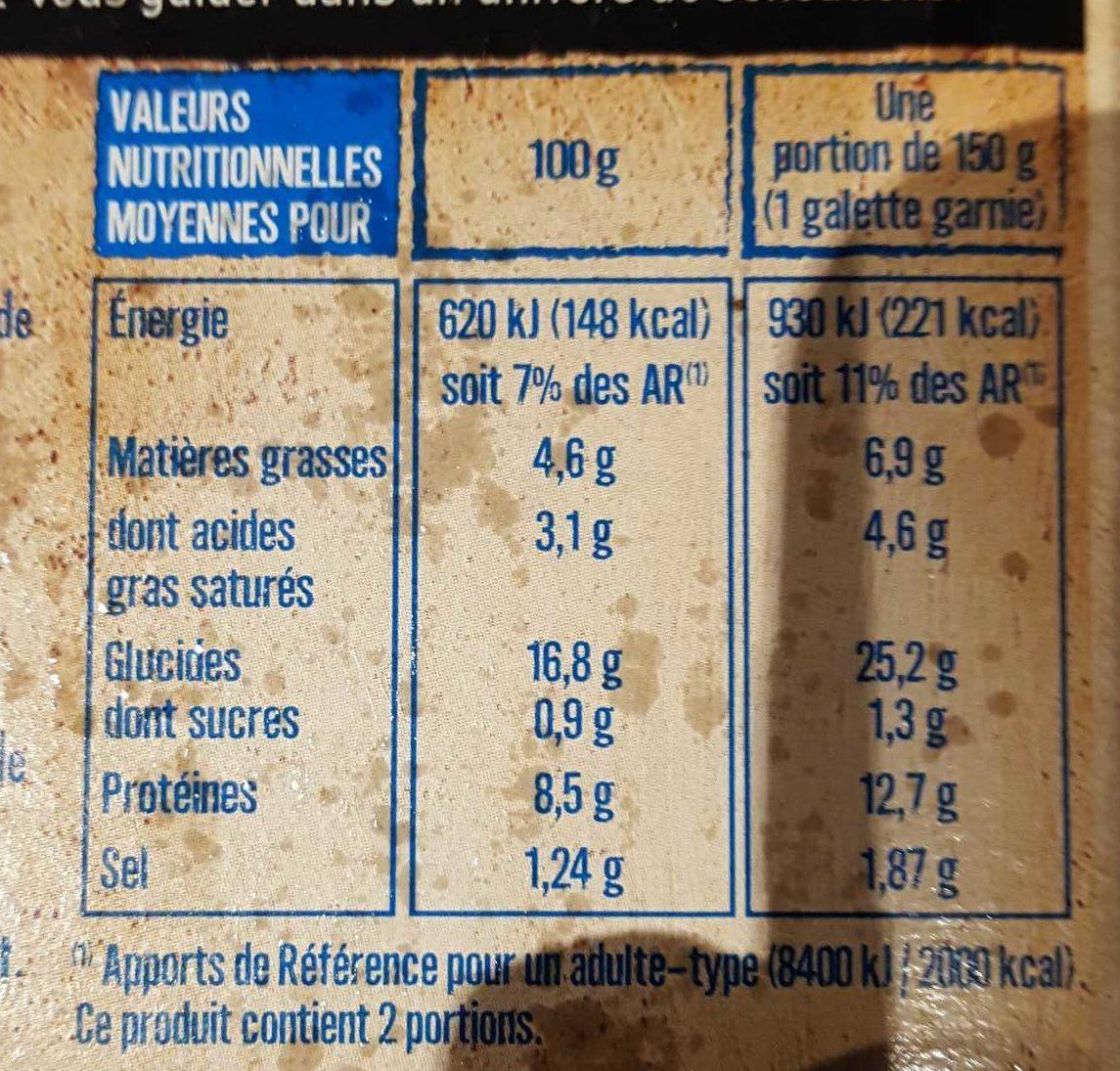2 Galettes de ble noir jambon emmental - Informations nutritionnelles