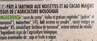 Pate à tartiner bio - Voedingswaarden - fr