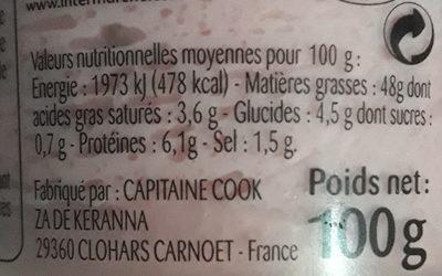 Tarama aux oeufs de cabillaud - Nutrition facts - fr