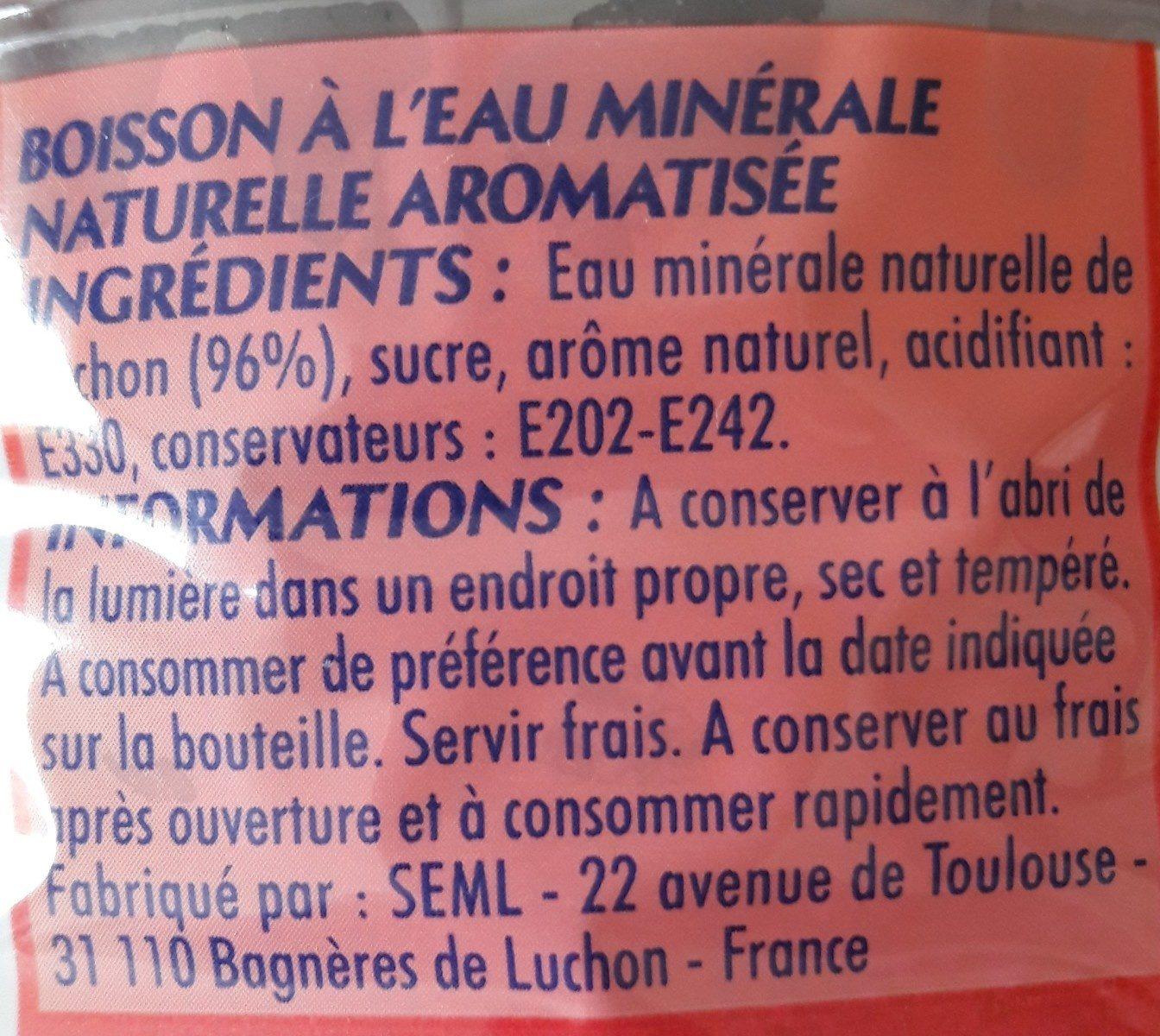 Boisson à l'eau minérale naturelle aromatisée - Ingrediënten - fr