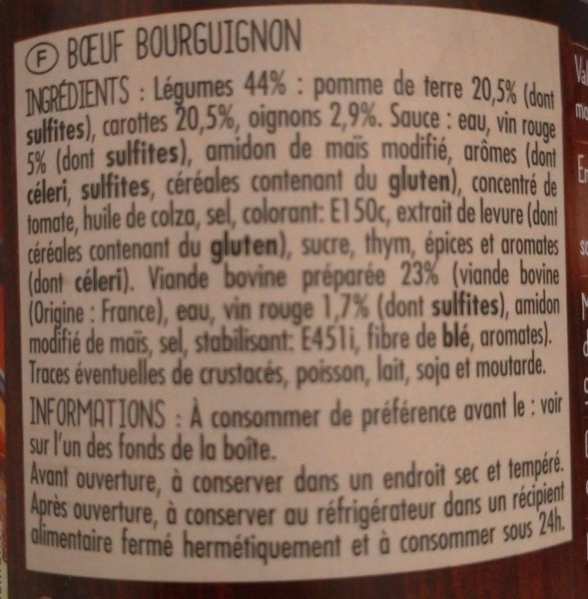 Boeuf Bourgignon  Au vin rouge - Ingrediënten - fr