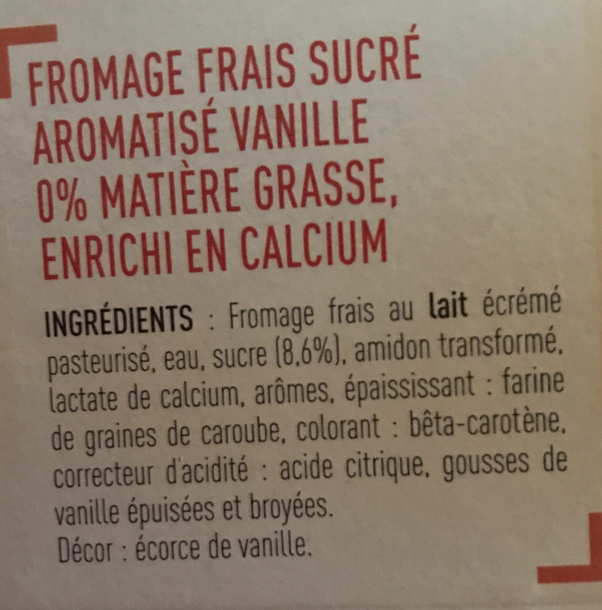 Fromage blanc 0%, saveur vanille - Ingredients
