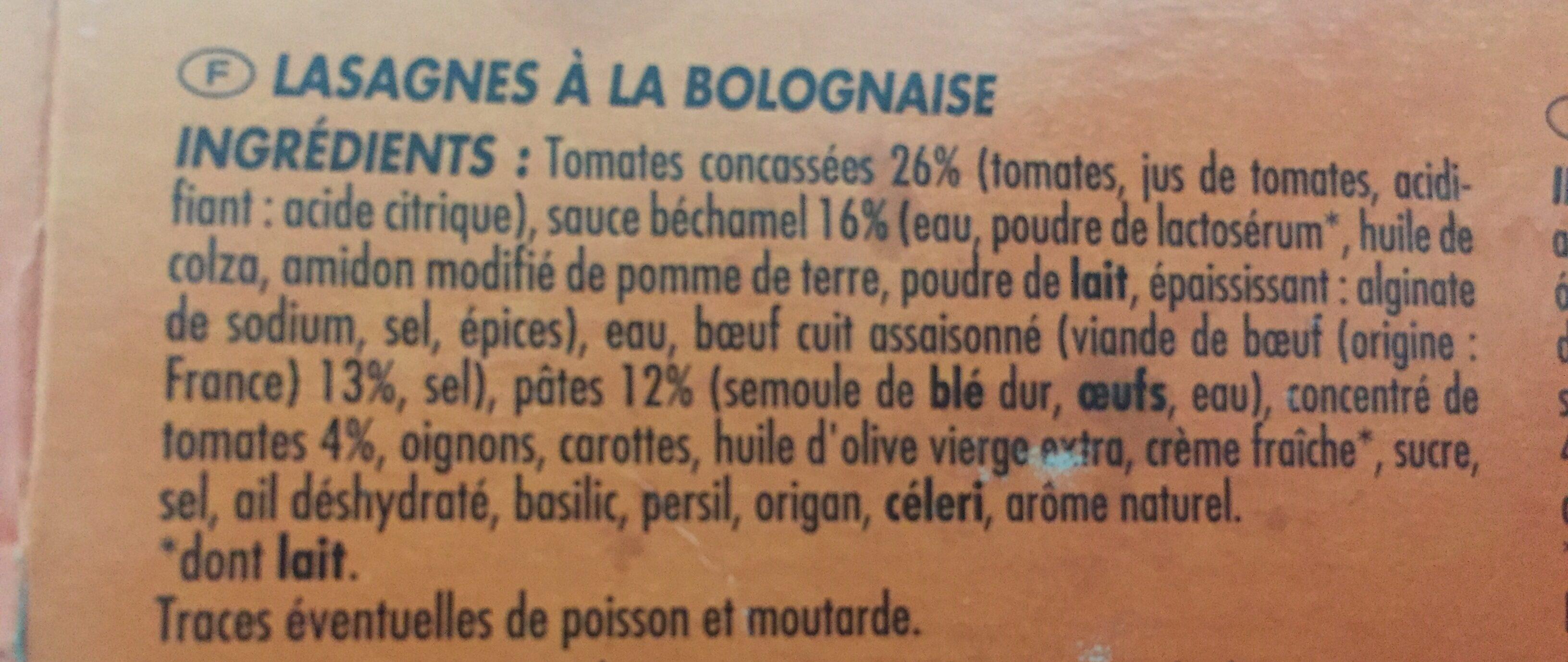 barquette de lasagne à la bolognaise - Ingrediënten - fr
