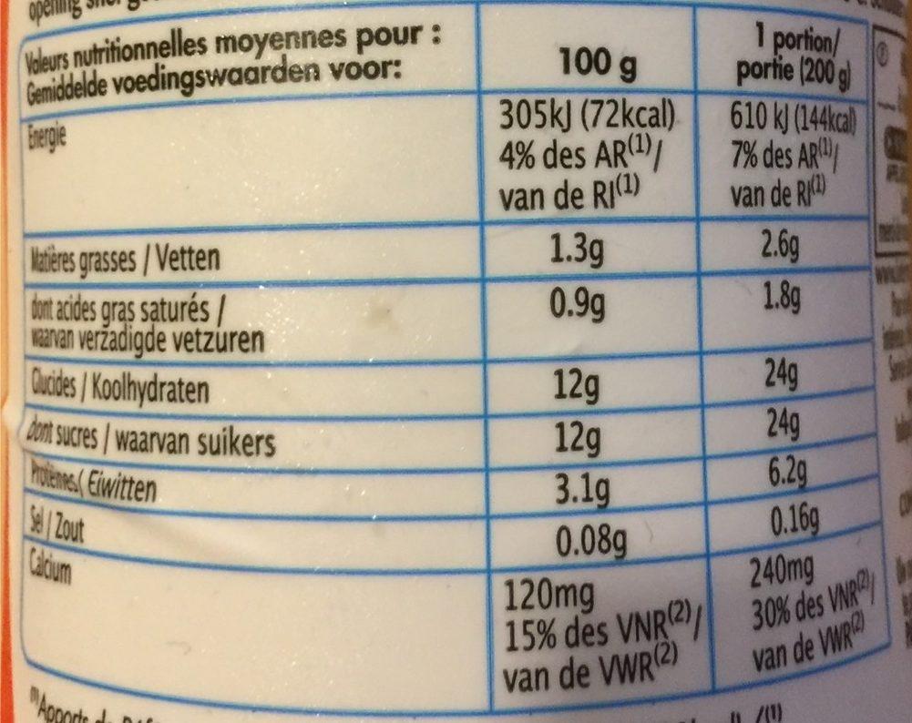 YAB** Saveur Fraise - Nutrition facts