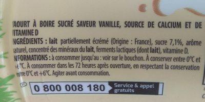 YAB** saveur Vanille - Ingrediënten