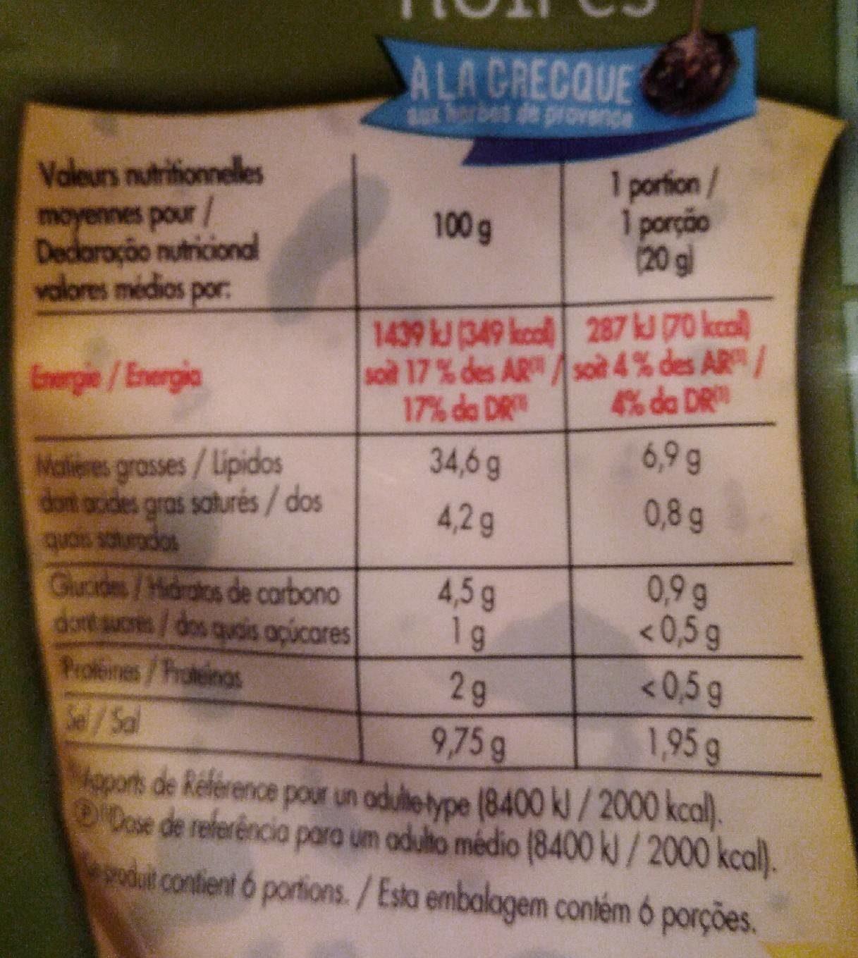 , Olives noires a la grecque aux herbes de Provence, le sachet de 125 g - Informations nutritionnelles - fr