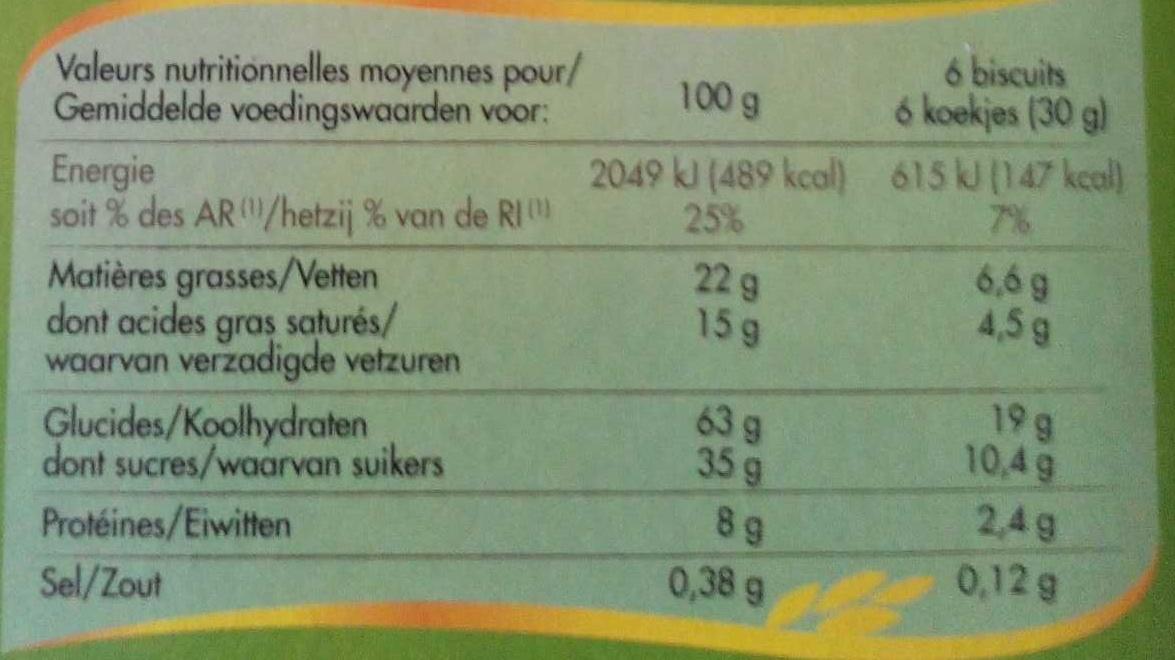 Gaufrettes chocolat noisettes - Nutrition facts
