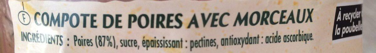 Compote poires avec morceaux - Ingredients - fr