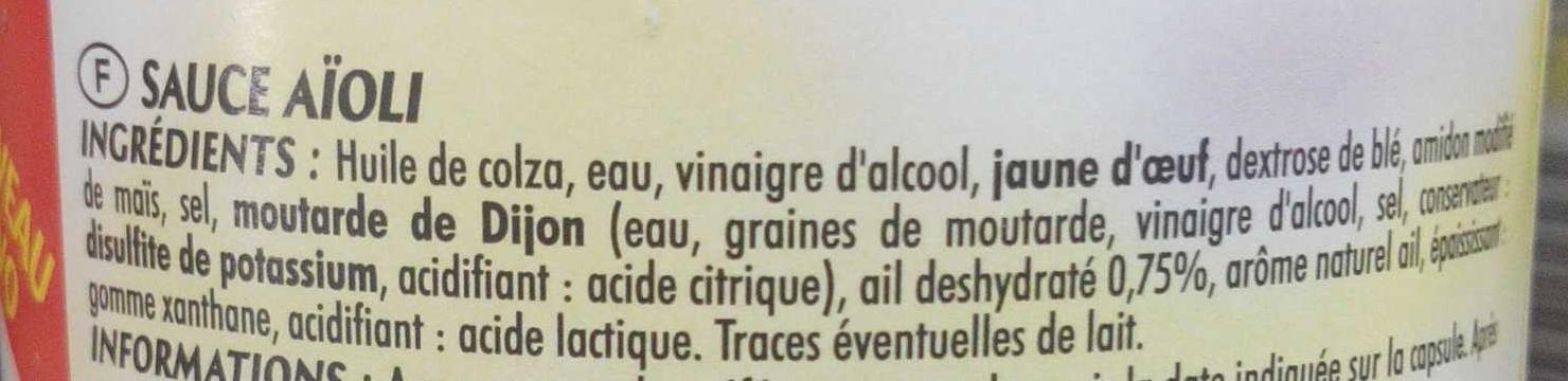 Sauce Aïoli à l'ail - Inhaltsstoffe - fr