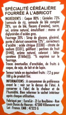 Crica Abricot - Ingrédients - fr