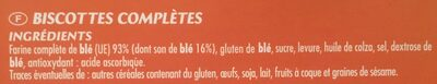 Biscottes Complètes 36 tranches - Ingredients
