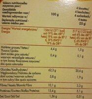 Biscottes complètes - Nutrition facts - fr