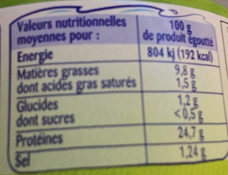 Thon entier à l'huile d'olive vierge extra - Informations nutritionnelles