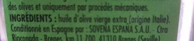 Huile Olive Vierge extra origine italie - Ingrédients - fr