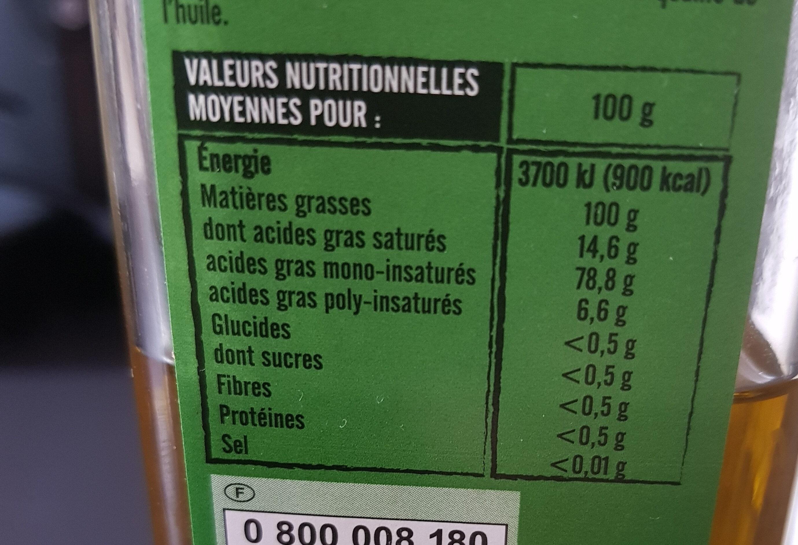 Huile Olive Vierge extra origine italie - Informations nutritionnelles - fr