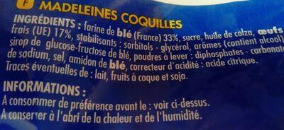 Madeleines coquilles aux oeufs frais - Ingrédients