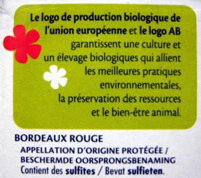 Vin Bordeaux Rouge Bio AOP Expert Club - Ingredients