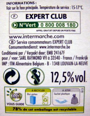 Vin Bordeaux Rouge Bio AOP Expert Club - Nutrition facts