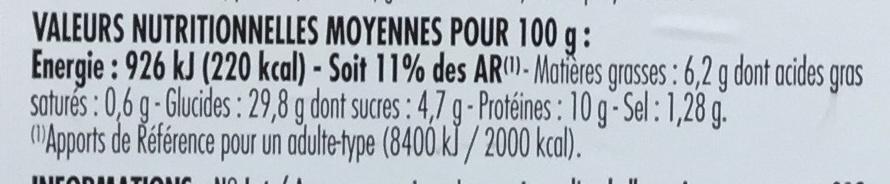 Poulet rôti moutarde à l'ancienne - Informations nutritionnelles - fr