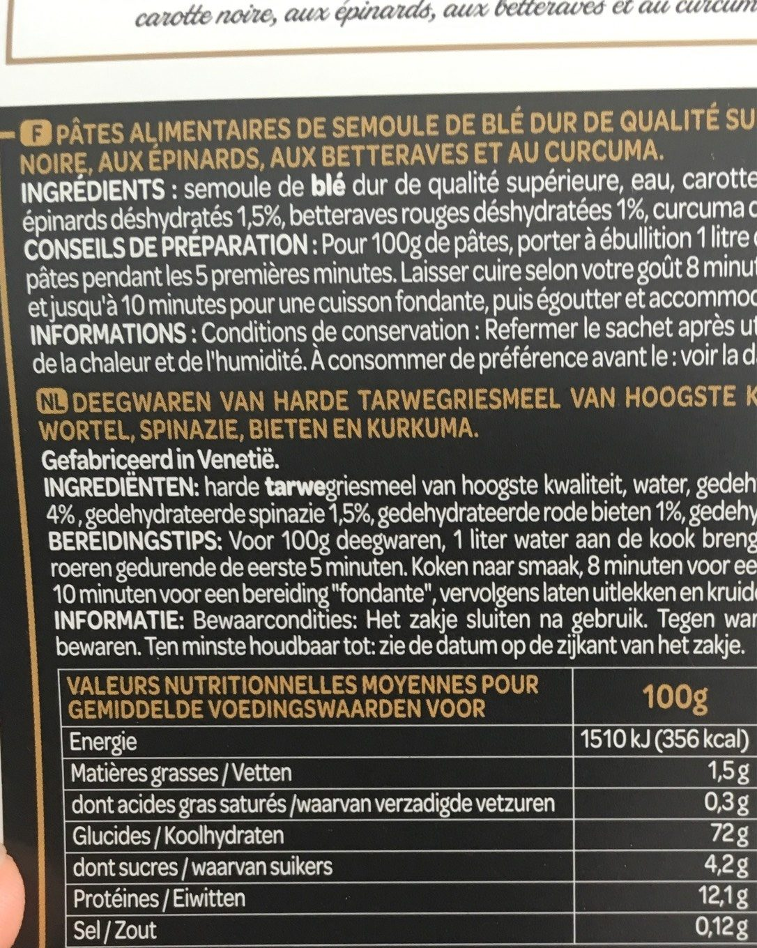 Conghiglie 5 couleurs - Nutrition facts