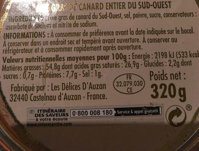 Foie Gras de Canard Entier du Sud-Ouest - Nutrition facts