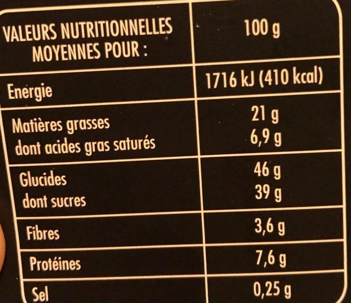 Croustillant au Chocolat Noir, Noisettes & Amandes - Informations nutritionnelles - fr