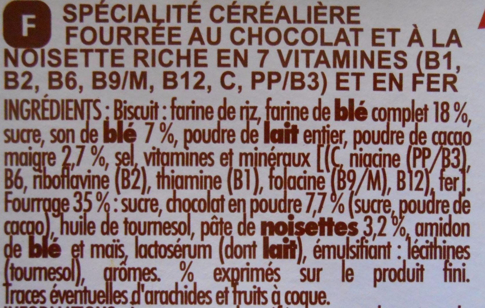Chabrior Maxi Pack Crica Choc' Chocolat Noisette - Ingrédients - fr