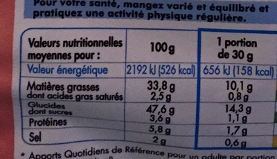 Chips, Saveur Ketchup - Informations nutritionnelles